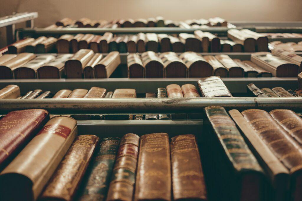 図書館で文献を調査しているイメージ