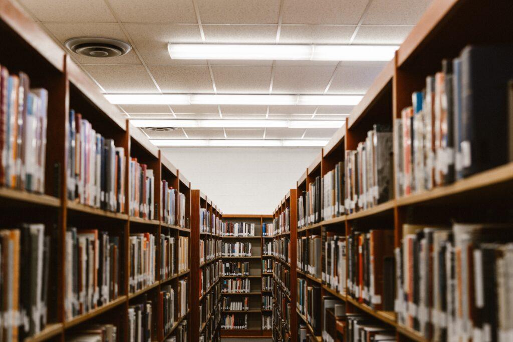 論文を図書館でたくさん調べているイメージ